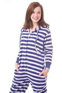 Hooded Fleece Adult Onesie in Nautical Stripes