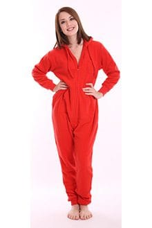 "Red Fleece Adult Onesie with ""Butt"" Flap – Vintage funzee"