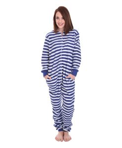 Nautical Unfooted Adult Onesie